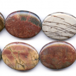 Red Creek Jasper 30x40mm Oval Beads - 8 Inch Strand