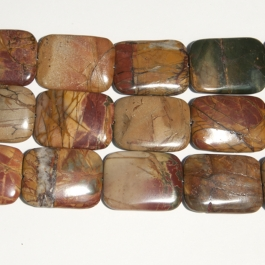 Red Creek Jasper 30x40mm Rectangle Beads - 8 Inch Strand
