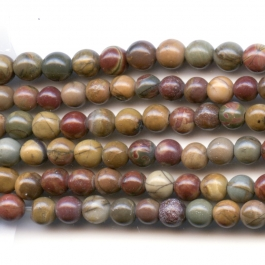 Red Creek Jasper 4mm Round Beads - 8 Inch Strand