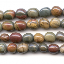 Red Creek Jasper 8x10mm  Nugget Beads - 8 Inch Strand