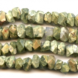 Rhyolite 7x12mm Faceted Nugget Beads - 8 Inch Strand