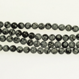 Snowflake Obsidian 6mm Round Beads - 8 Inch Strand
