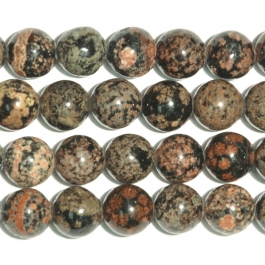 Mexican Red Snowflake Jasper 10mm Round Beads - 8 Inch Strand