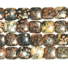 Mexican Red Snowflake Jasper 12mm Square Beads - 8 Inch Strand