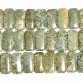Green Brecciated Jasper 10x20mm Double Drilled Beads - 8 Inch Strand