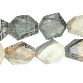 Picasso Jasper Faceted Hexagon Beads - 8 Inch Strand