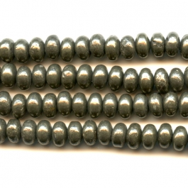 Pyrite 6mm Faceted Rondelle Beads - 8 Inch Strand