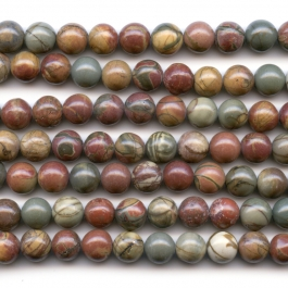 Red Creek Jasper 8mm Round Beads - 8 Inch Strand