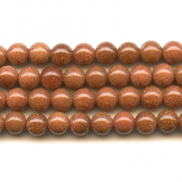 Goldstone 6mm Round Beads - 8 Inch Strand