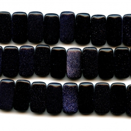 Blue Goldstone 10x20mm Double Drilled Beads - 8 Inch Strand