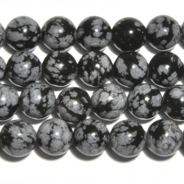 Snowflake Obsidian 10mm Round Beads - 8 Inch Strand