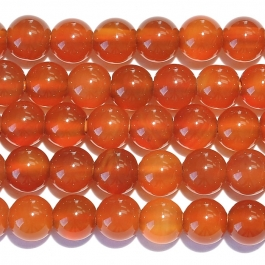 Carnelian 8mm Round Large Hole Beads - 8 Inch Strand