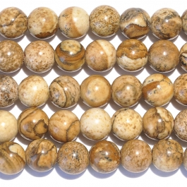 Picture Jasper 8mm Round Large Hole Beads - 8 Inch Strand
