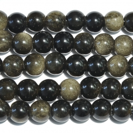 Golden Obsidian 8mm Round Large Hole Beads - 8 Inch Strand