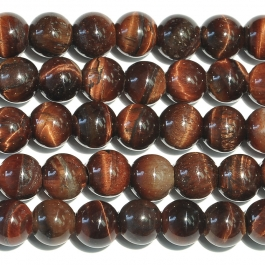 Red Tiger Eye 8mm Round Large Hole Beads - 8 Inch Strand