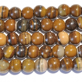 Iron Zebra Jasper 8mm Round Large Hole Beads - 8 Inch Strand