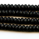 Matte Onyx 8mm Faceted Rondelle Beads - 8 Inch Strand