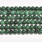 Malachite 4mm Round Beads - 8 Inch Strand