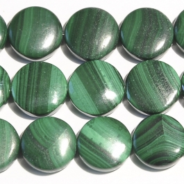 Malachite 12mm Coin Beads - 8 Inch Strand