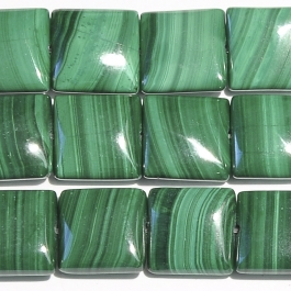 Malachite 12mm Square Beads - 8 Inch Strand