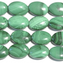 Malachite 10x14mm Oval Beads - 8 Inch Strand
