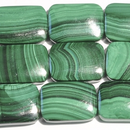 Malachite 13x18mm Rectangle Beads - 8 Inch Strand