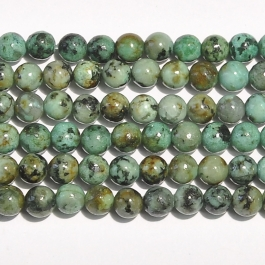 African Turquoise 4mm Round Beads - 8 Inch Strand