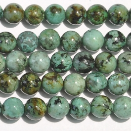 African Turquoise 6mm Round Beads - 8 Inch Strand