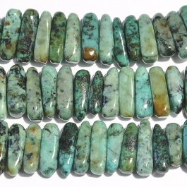 African Turquoise 5x15mm Flat Chip Beads - 8 Inch Strand