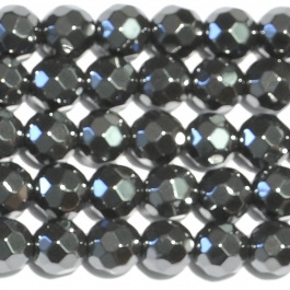 Hematite 6mm Faceted Round Beads - 8 Inch Strand