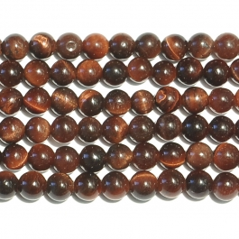 Red Tiger Eye 4mm Round Beads - 8 Inch Strand