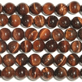 Red Tiger Eye 8mm Round Beads - 8 Inch Strand