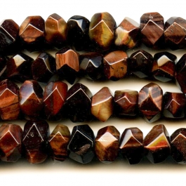 Red Tiger Eye 7x12mm Faceted Nugget Beads - 8 Inch Strand