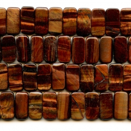 Red Tiger Eye 10x20mm Double Drilled Beads - 8 Inch Strand