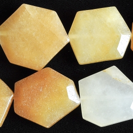 Yellow Jade 22x30 Faceted Hexagon 8 Inch Strand