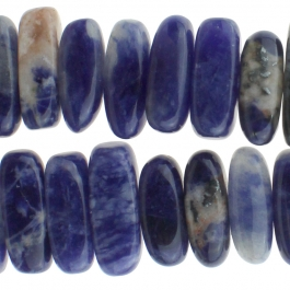 Sodalite 5x15mm Center Drill Flat Chip 8 inch Strand