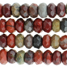 Apple Jasper 8mm Faceted Rondelle 8 inch Strand