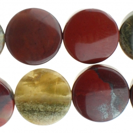 Apple Jasper 12mm Coin 8 inch Strand