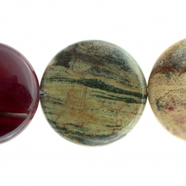 Apple Jasper 30mm Coin 8 inch Strand