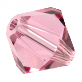 4mm Light Rose 5301 Bi-Cone Swarovski Crystal Beads - Pack of 10