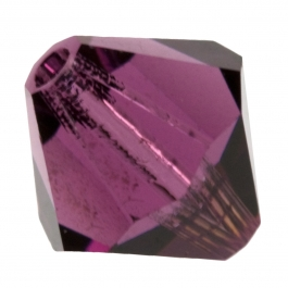 4mm Amethyst 5301 Bi-Cone Swarovski Crystal Beads - Pack of 10