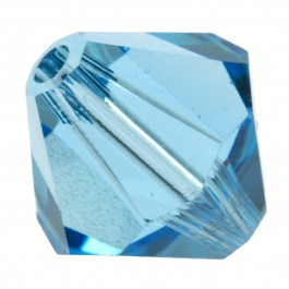 8mm Aquamarine 5301 Bi-Cone Swarovski Crystal Beads - Pack of 6