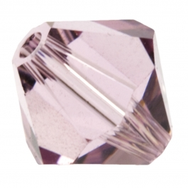 8mm Light Amethyst 5301 Bi-Cone Swarovski Crystal Beads - Pack of 6