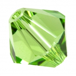 4mm Peridot 5301 Bi-Cone Swarovski Crystal Beads - Pack of 10