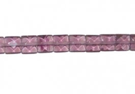 8x8mm Faceted Square Amethyst (Reconstituted) Beads - 16 inch Strand