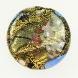 Large Abstract Disc Crystal, Yellow Gold, Aventurina, Size 35mm