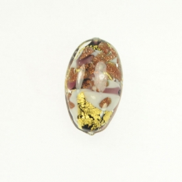 Abstract Oval Amethyst/White/Aventurina/Yellow Gold, Size 25mm