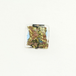 Abstract Square Crystal/Yellow Gold, Size 16mm