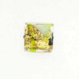 Abstract Square Lime/White/Yellow Gold, Size 16mm