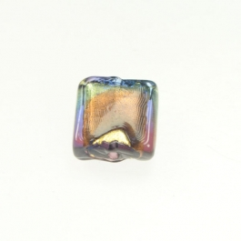 Exposed Gold Square Amethyst and Periwinkle/Yellow Gold, Size 11mm